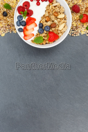 muesli breakfast fruit yogurt strawberries bowl