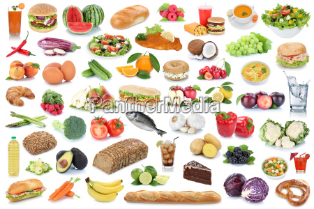 food collage healthy food fruits and