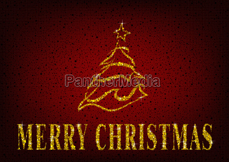 christmas tree on red glitter background
