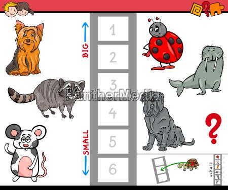 big and small animals cartoon game