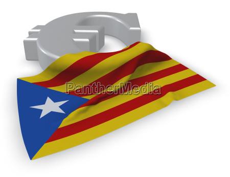 euro symbol and catalan flag