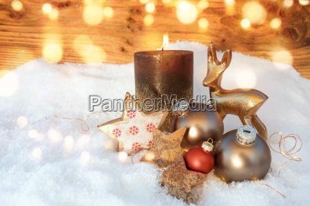 christmas still life in snow