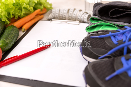 healthy lifestyle concept writing weight loss