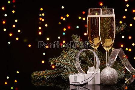 champagne new year and christmas
