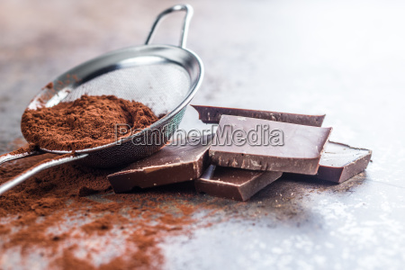 dark cocoa powder in a sieve