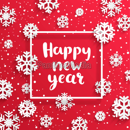 happy new year card with snowflakes