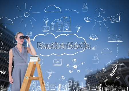 businesswoman on a ladder looking at