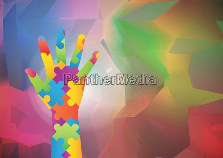 multicolored hand against colorful background