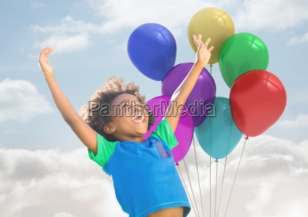 kid with balloons has happy fun