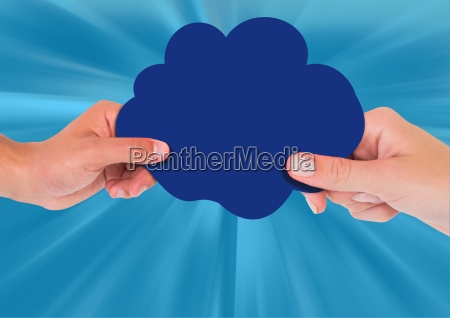 composite image of hands holding blue