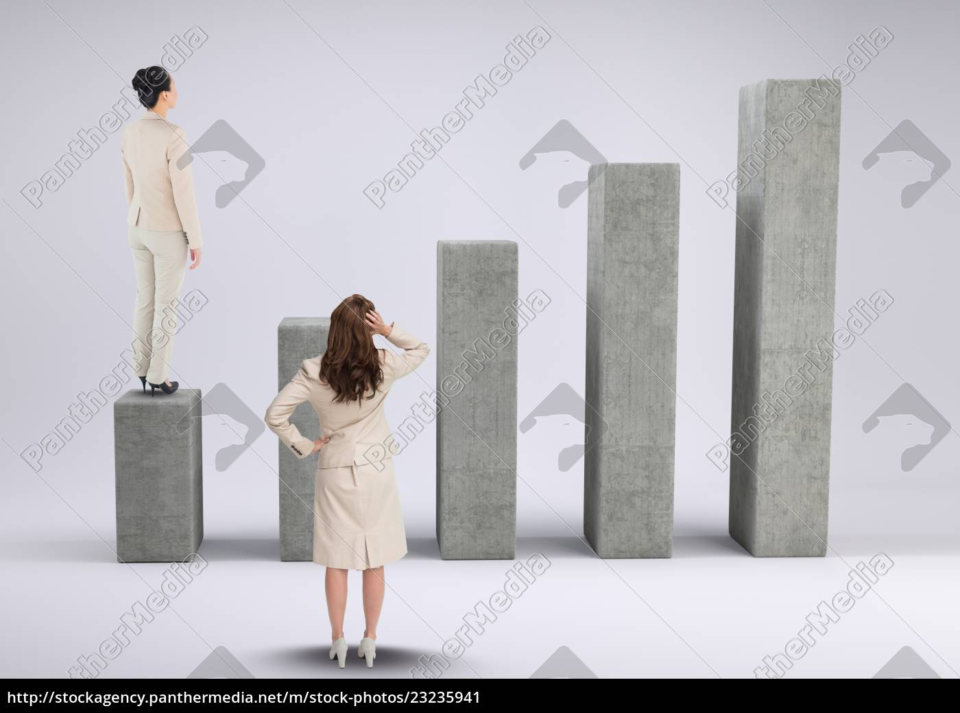 businesswomen, standing, and, looking, at, graph - 23235941