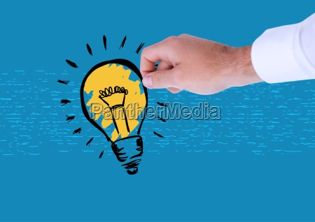composite image of hand holding lightbulb