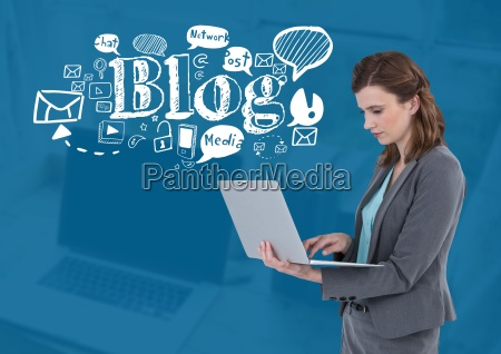 woman on laptop with blog text