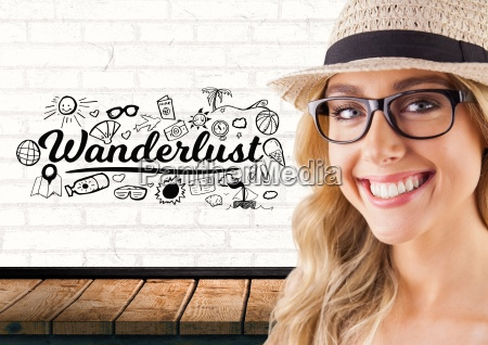 happy woman in hat and wanderlust