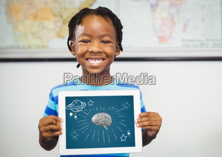 kid holding tablet grey brain and