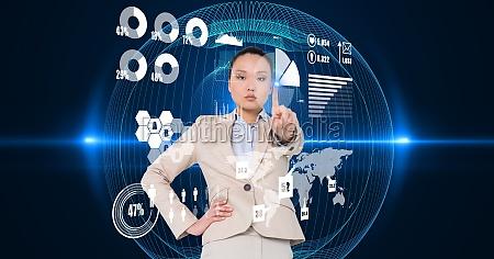confident businesswoman touching virtual screen