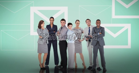business team standing against message background