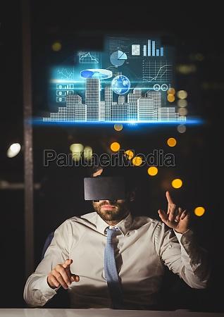 man wearingvr virtual reality headset with