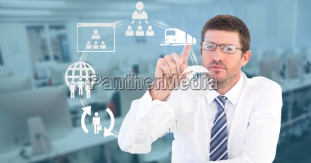 businessman touching icons on transparent screen
