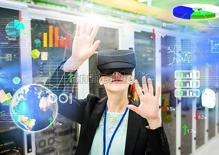 woman wearing vr virtual reality headset