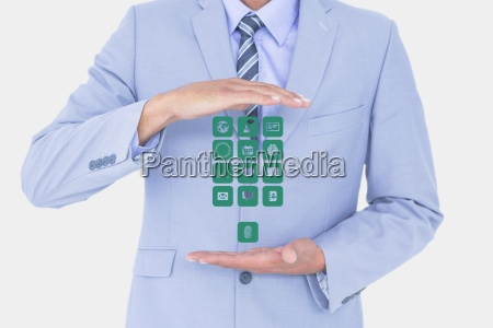 digitally generated image of businessman holding