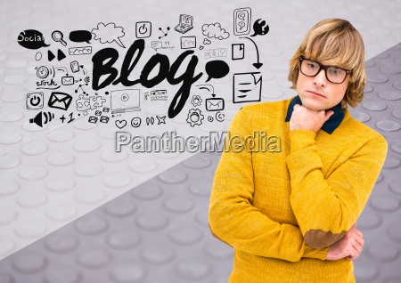 man thinking with blog text with