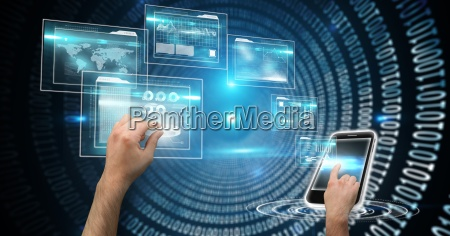 digital composite image of hands touching