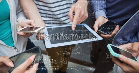 digital composite image of students solving
