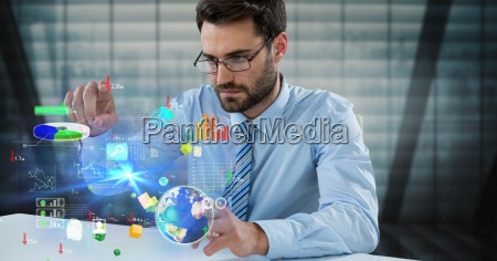digital composite image of businessman touching