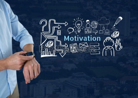man with smart watch and motivation