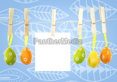 easter eggs on pegs with note
