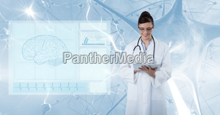 digital composite image of doctor using