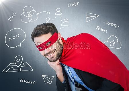 business man superhero with head on