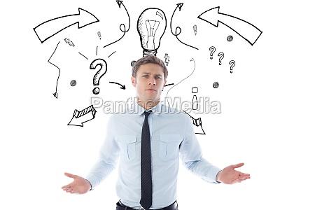 digital composite image of confused businessman