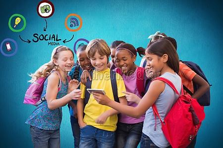digital composite image of school students