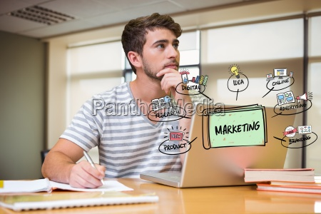 thoughtful businessman with laptop and marketing