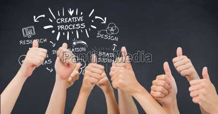 hands showing thumbs up with creative