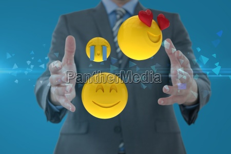 composite image of man and smileys