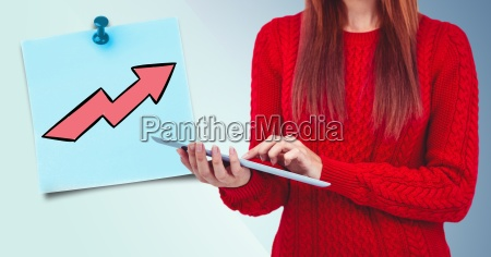 woman mid section with tablet and
