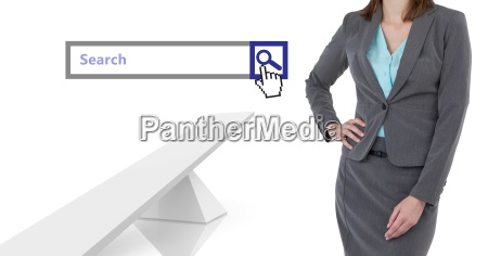 woman standing next to search bar