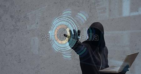 digital composite image of hacker holding