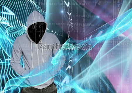 grey jumper hacker with out face