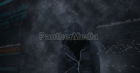 digital composite image of hacker with