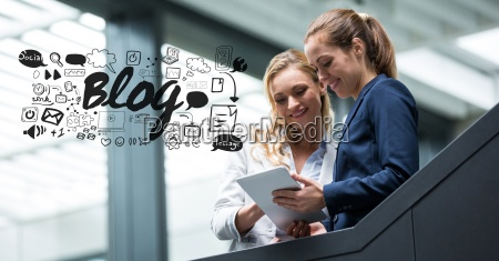 digital composite image of businesswomen using
