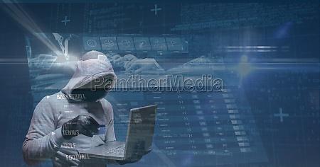 digital composite image of hacker using