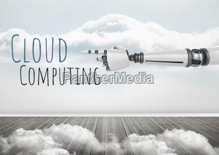 android hand pointing and cloud computing