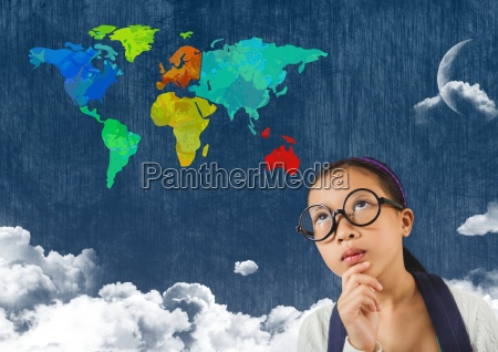 woman looking at colorful map with