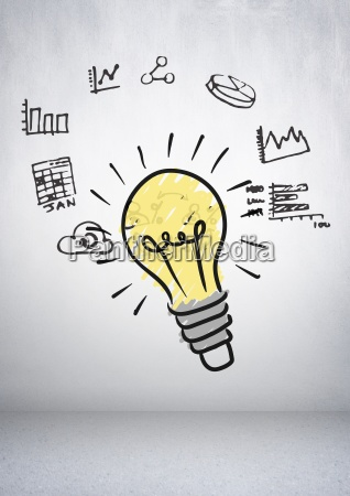 colourful lightbulb with charts business graphics