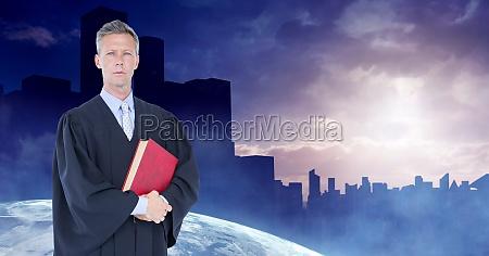 digital composite image of judge holding
