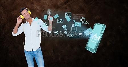man using headphones while touching icon